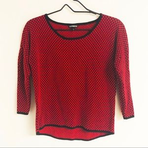 Express Textured Circle Fitted Sweater Red